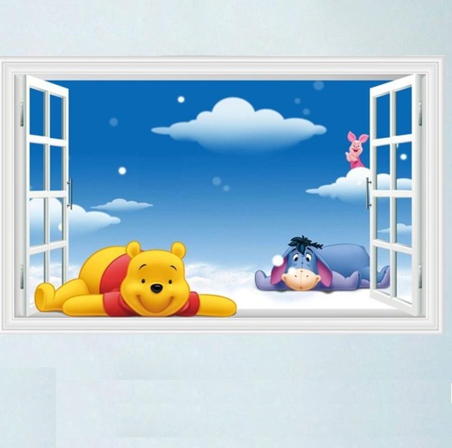 Decal dán tường cửa sổ gấu Pooh