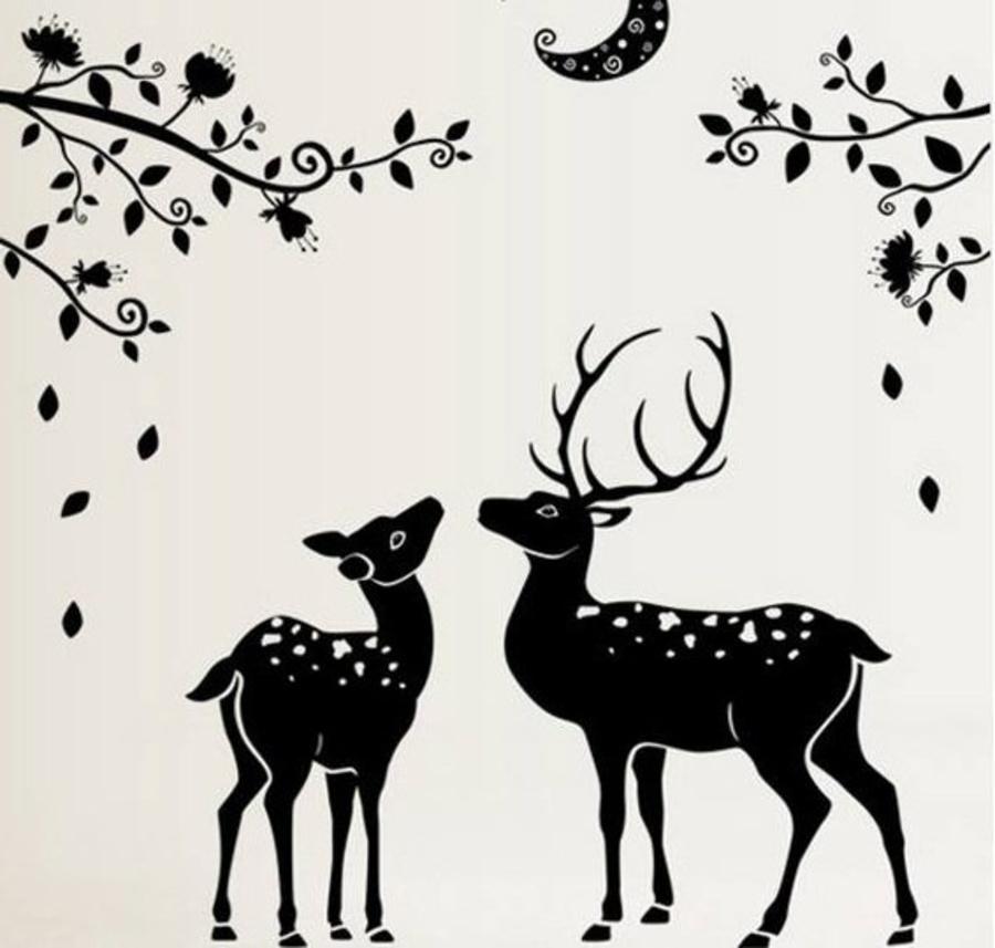 Decal dán tường đôi hươu trắng đen