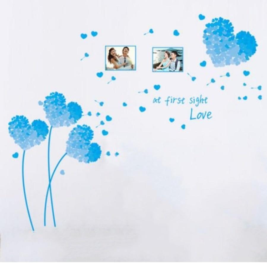 Decal dán tường trái tim xanh dương