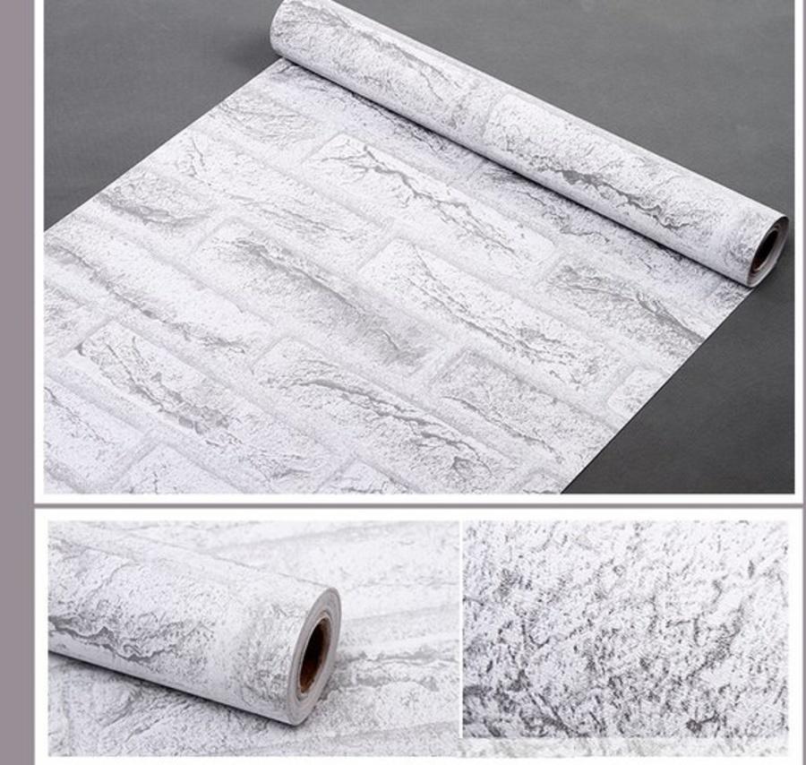 Giấy Decal cuộn gạch màu trắng