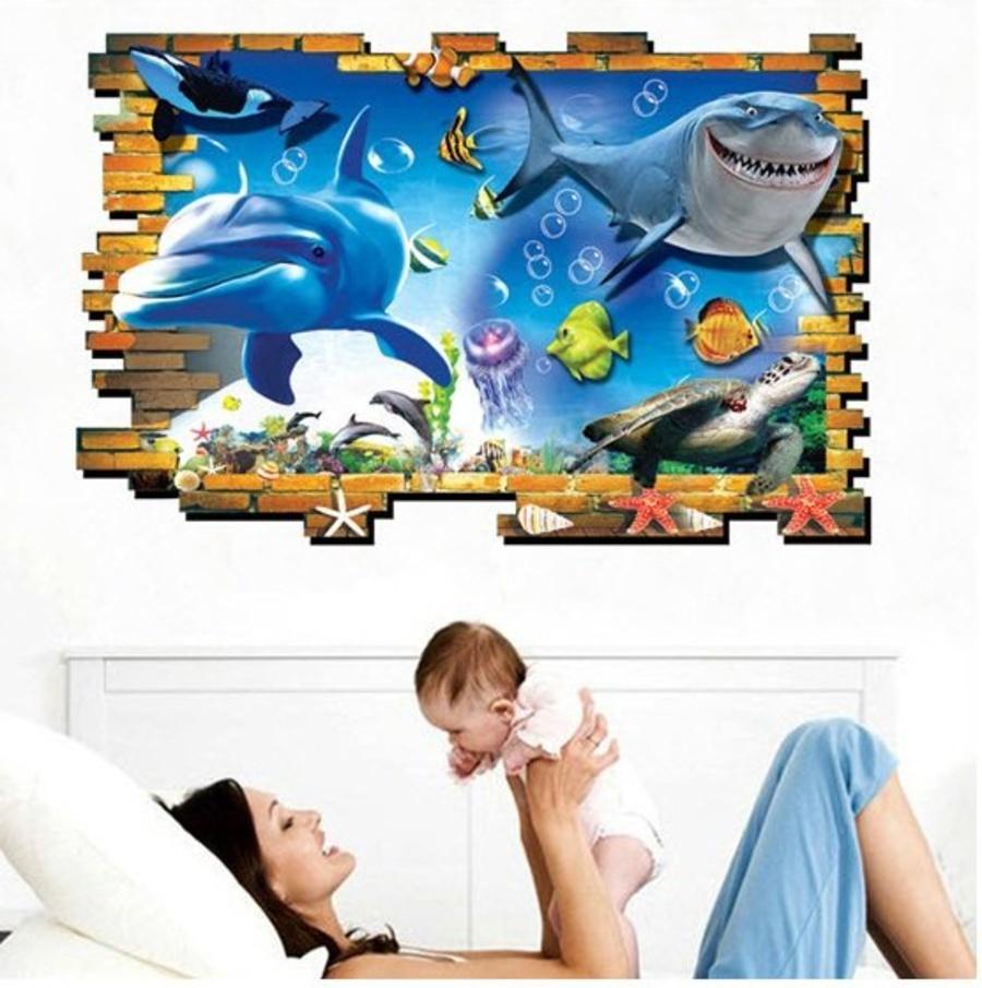 Decal đại dương xanh cá heo 3D