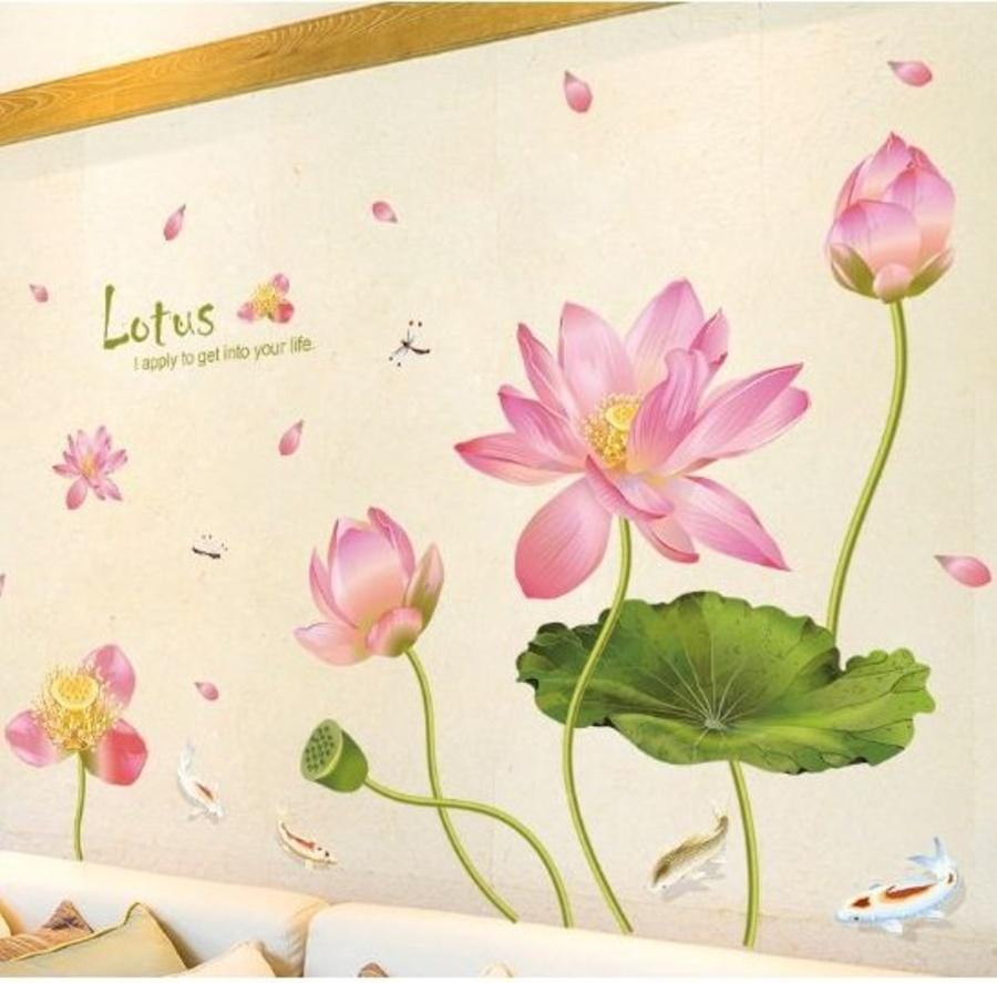 Decal dán tường đầm sen hồng 8