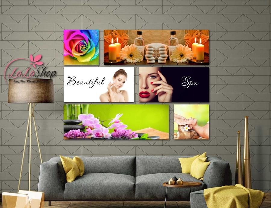 Tranh treo tường Spa hoa và nến