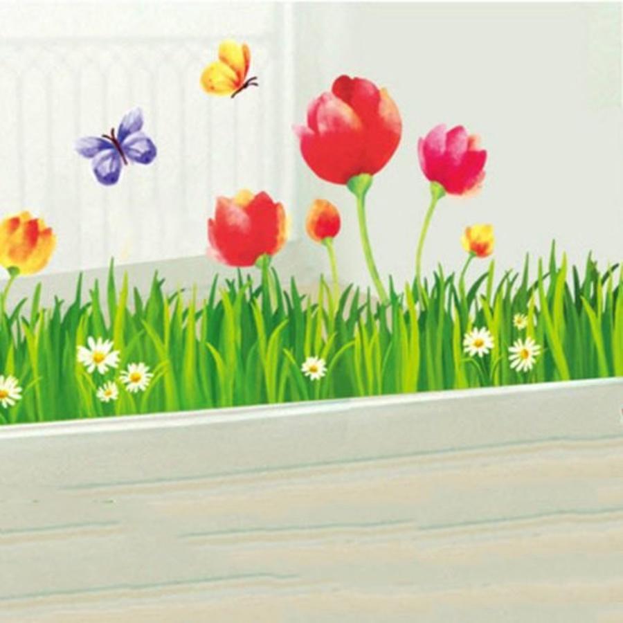 Decal chân tường hoa tulip to