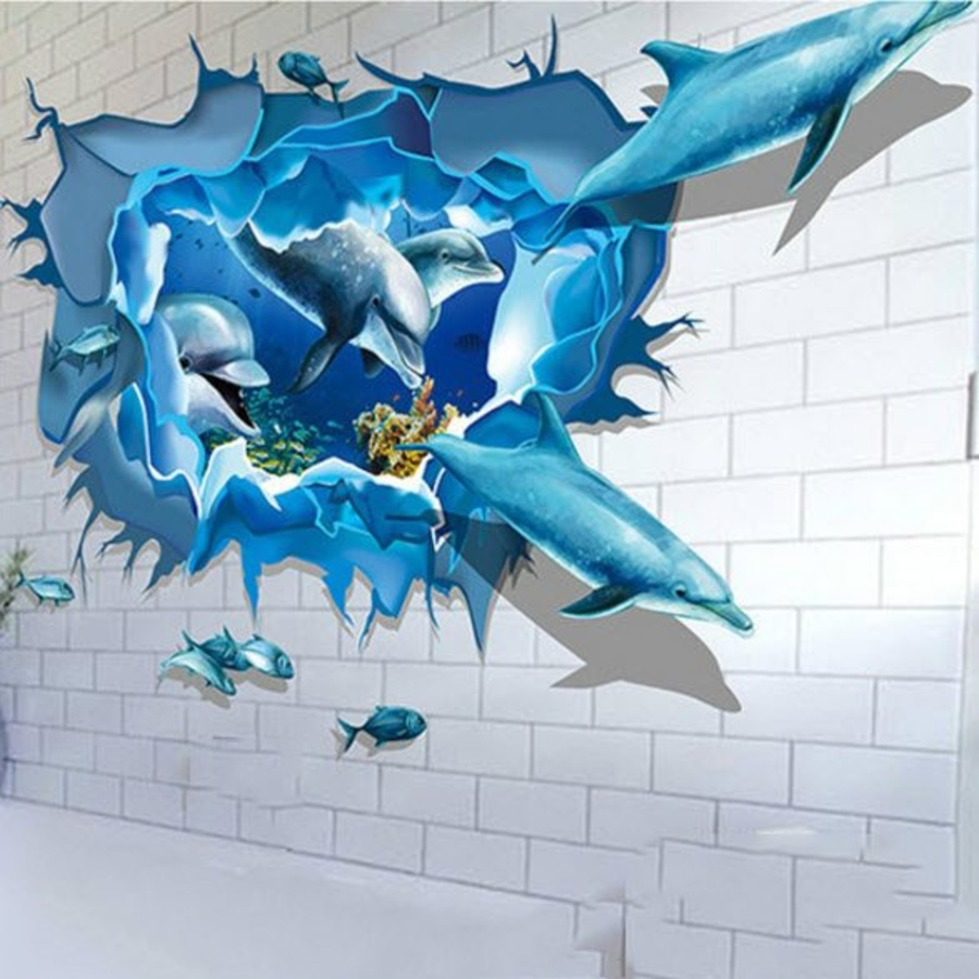 Decal 3D dán tường Cá heo