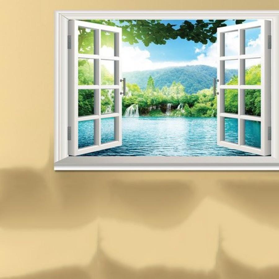 Tranh dán tường cửa sổ hồ nước xanh 2