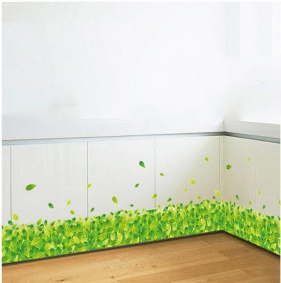 Decal chân tường lá xanh