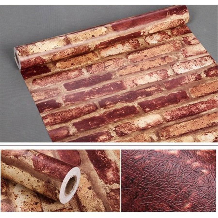 Giấy decal cuộn gạch đỏ 2