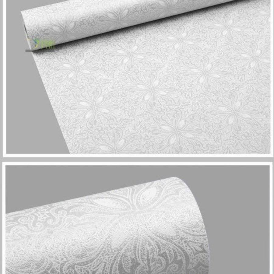 Giấy Decal cuộn hoa văn cổ điển trắng