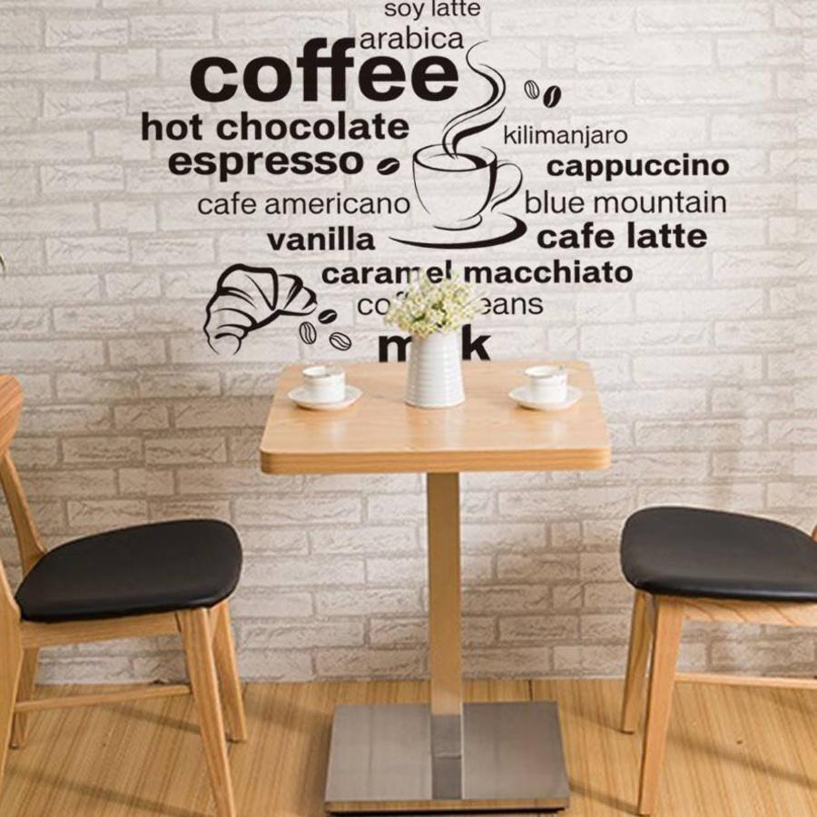 Decal dán tường chữ trắng đen coffee 2