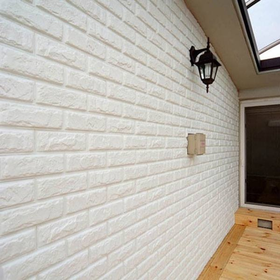 [Cao cấp] Xốp đá dán tường 3D màu trắng