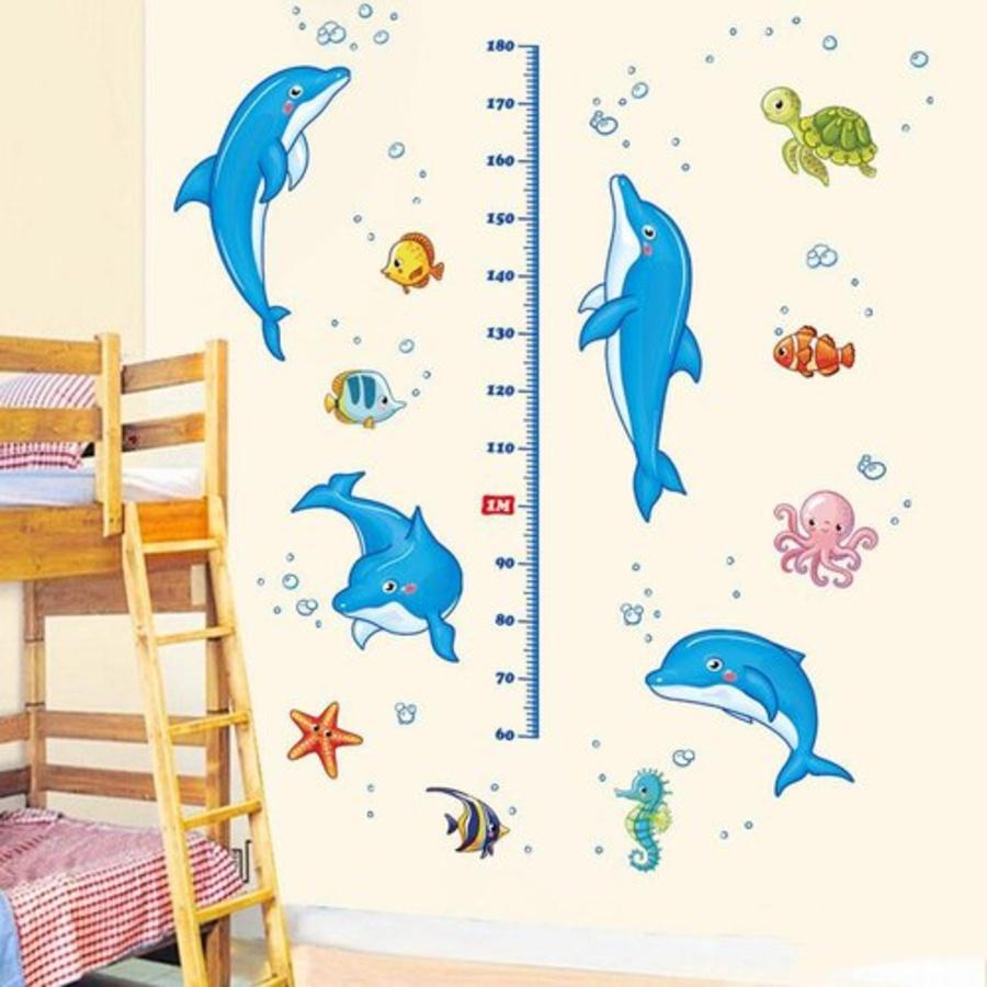 Decal dán tường thước đo cá heo xanh 2