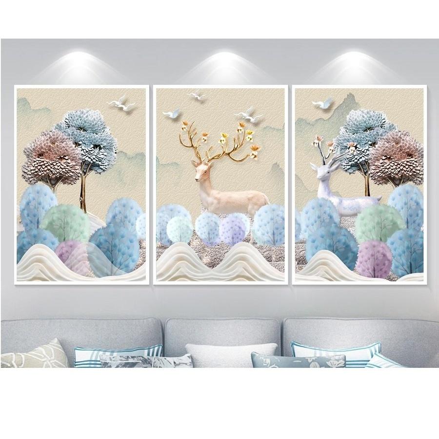 Tranh Treo Tường 3D Song Đôi Tuần Lộc A011