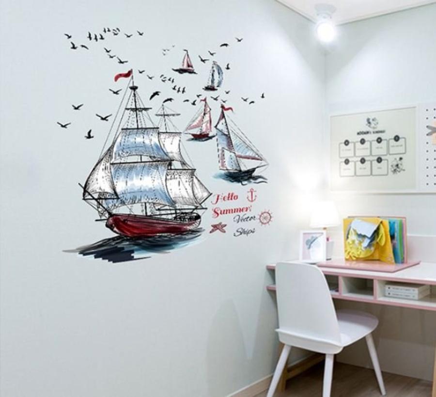 Decal dán tường thuyền buồm 4