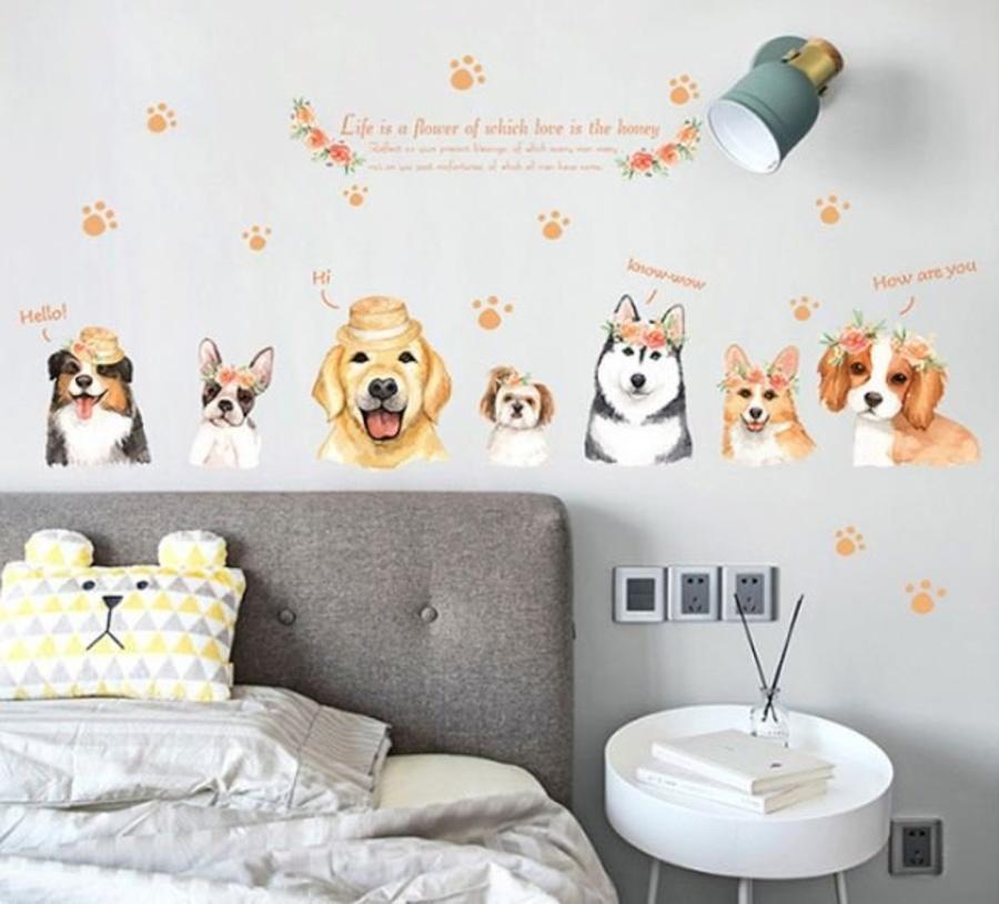 Decal dán tường cún con ngộ nghĩnh 2