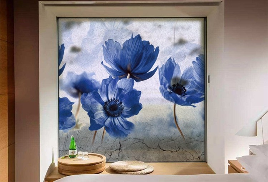 Decal dán kính mờ hoa tím