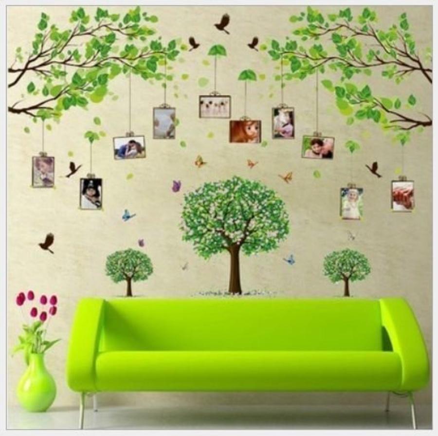 Decal dán tường combo cành cây photo 2 và bộ 3 cây xanh