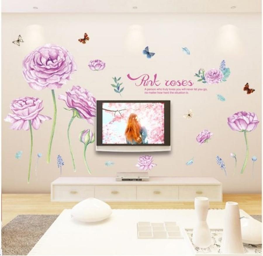 Decal dán tường hoa hồng tím
