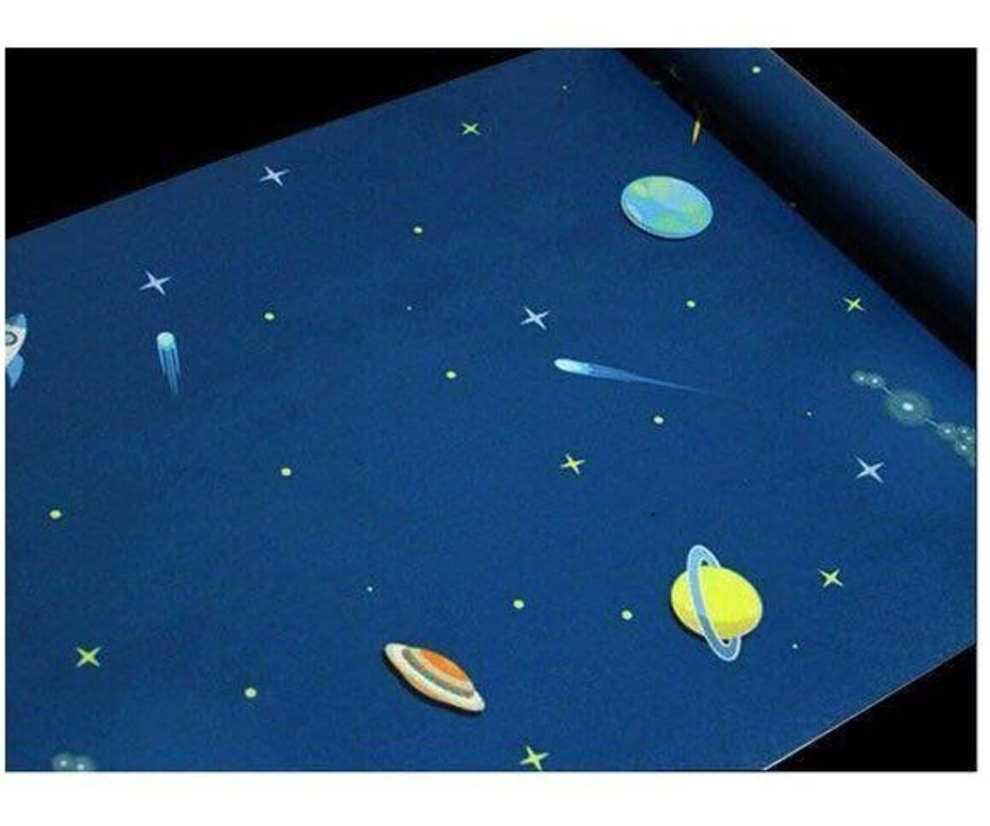 Giấy decal cuộn các hành tinh xanh khổ 0.9m
