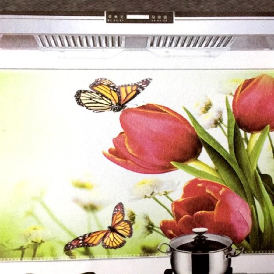 Decal dán bếp hoa tulip đỏ bướm vàng 60x90