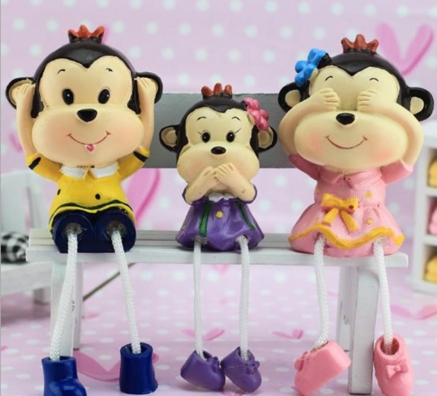 Bộ búp bê gia đình khỉ 3 con