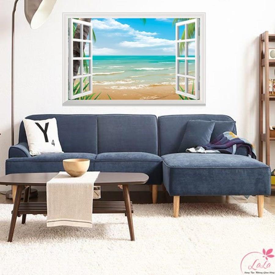 Tranh cửa sổ biển xanh 2