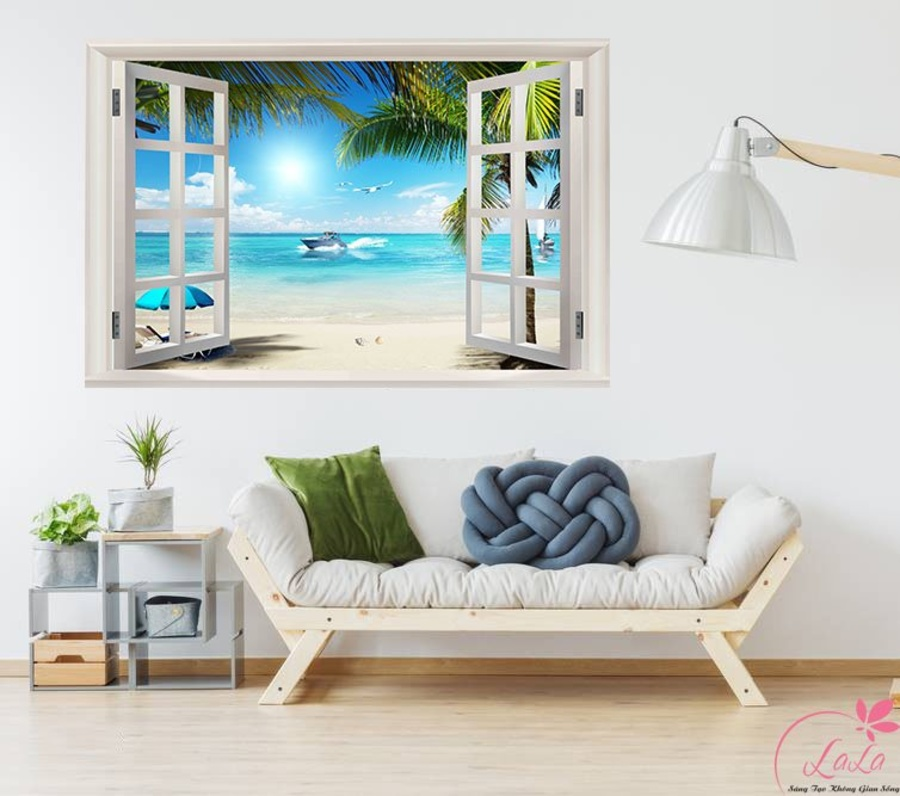 Tranh  cửa sổ biển xanh 4