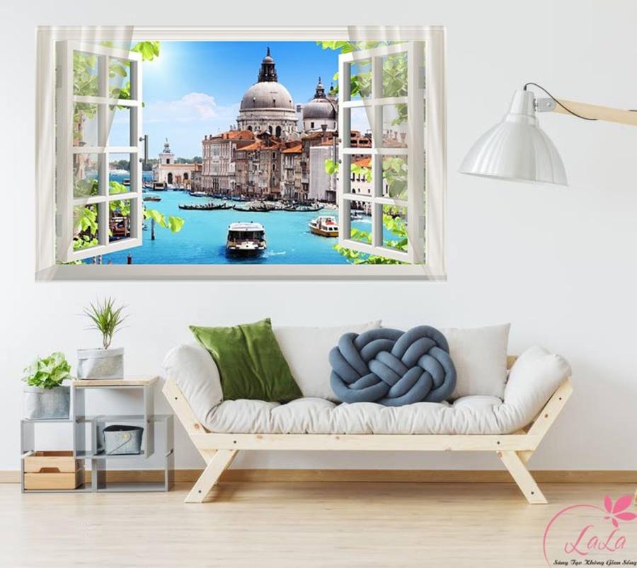 Tranh cửa sổ lâu đài biển xanh