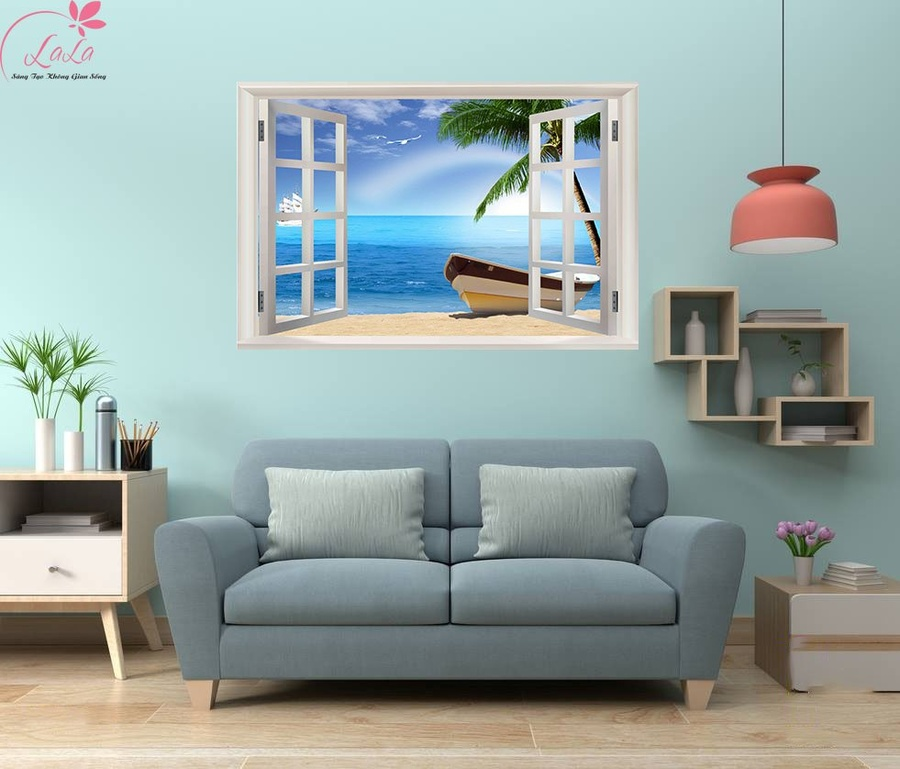 Tranh cửa sổ thuyền và biển