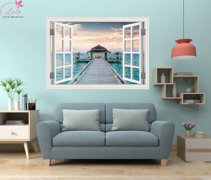 Tranh cửa sổ hoàng hôn trên biển