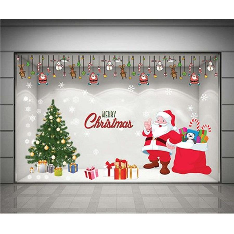 Decal dán tường Combo Ông già Noel và cây thông xanh