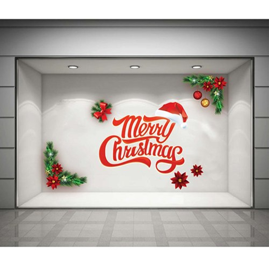 Decal dán tường Merry Christmas và nón Noel