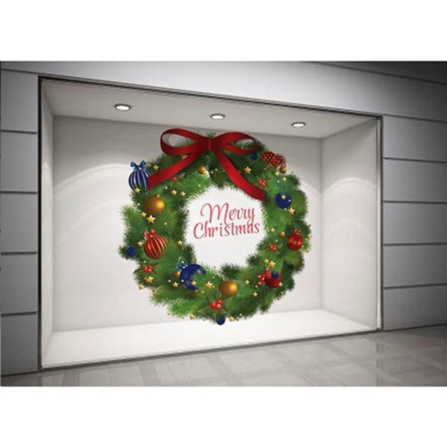 Decal dán tường Vòng nguyệt quế Noel nơ đỏ size lớn 03 60x60 (nền trắng đục)