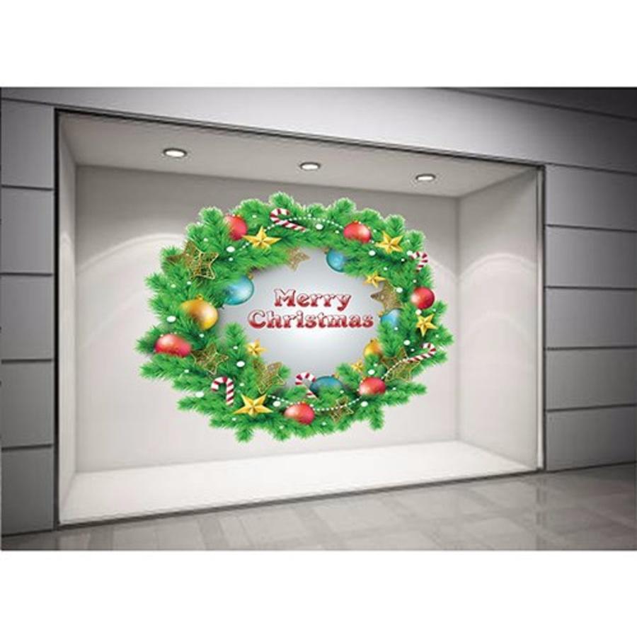 Decal dán tường Vòng nguyệt quế Noel size lớn 60x60  (nền trắng đục)