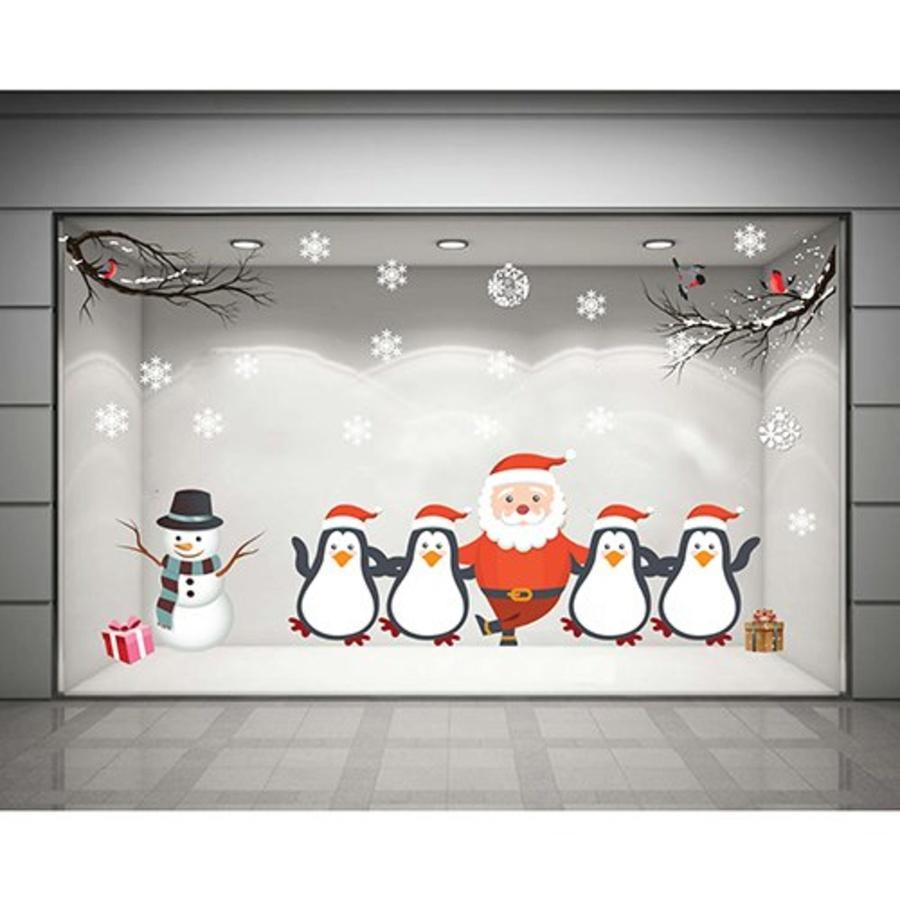 Decal dán tường Ông già Noel và chim cánh cụt  (nền trắng đục)