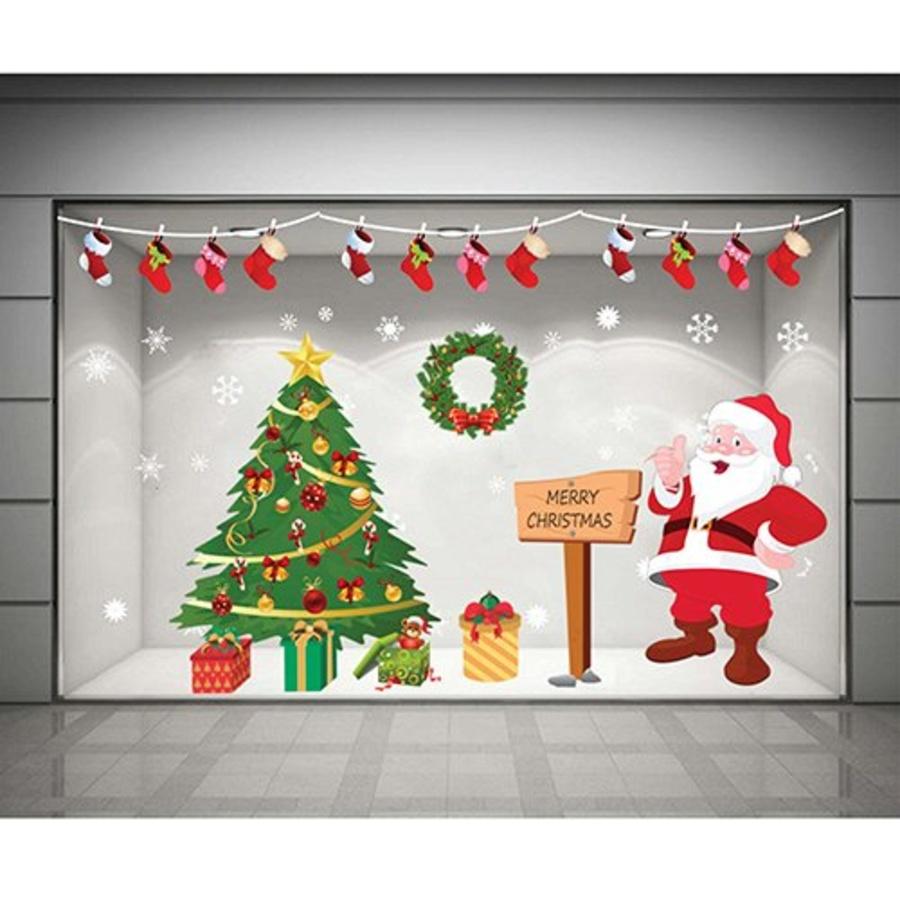 Decal dán tường Combo Ông già Noel và cây thông xanh 3