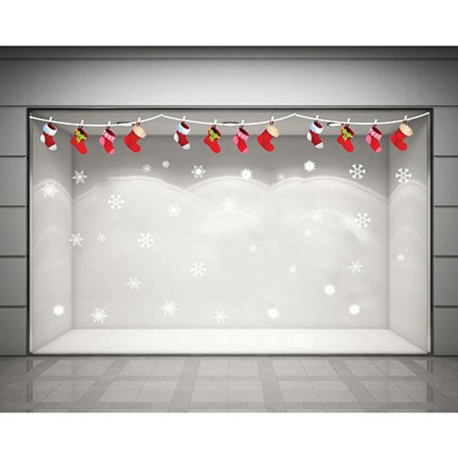 Decal dán tường Dây treo vớ Noel (nền trắng đục)