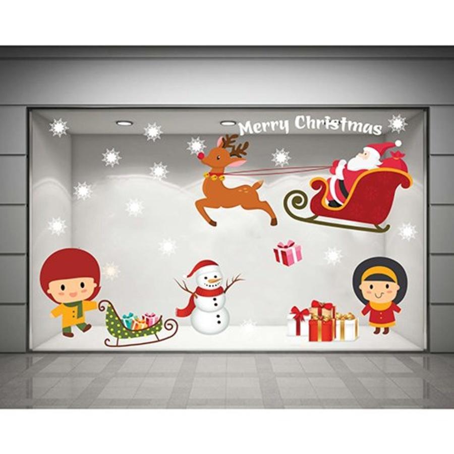 Decal dán tường Bức tranh Noel (nền trắng đục)
