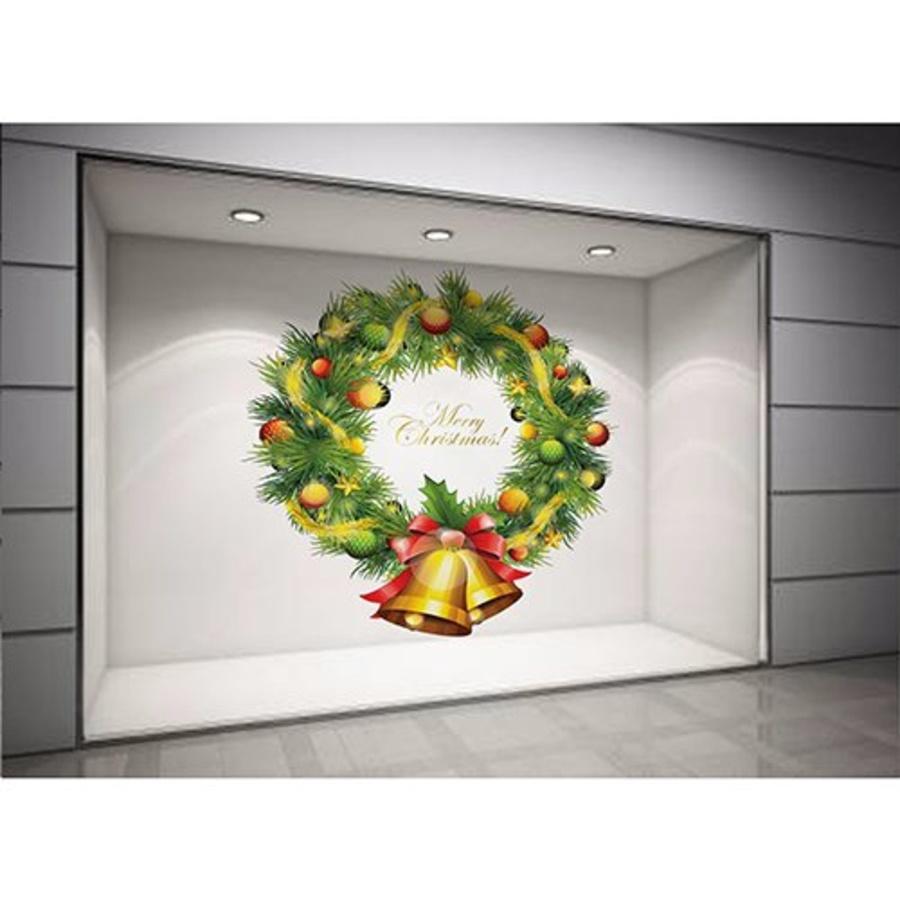 Decal dán tường Vòng nguyệt quế quả chuông Noel size lớn 60x60 (nền trắng đục)