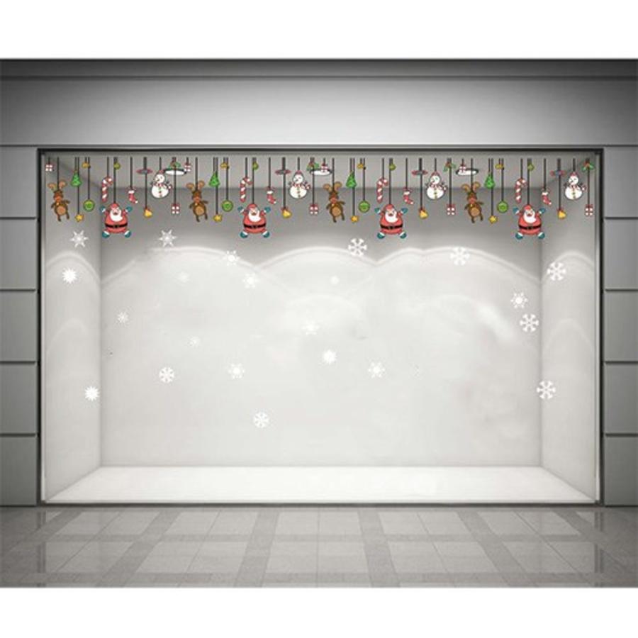 Decal dán tường Dây treo ông già Noel (nền trắng đục)
