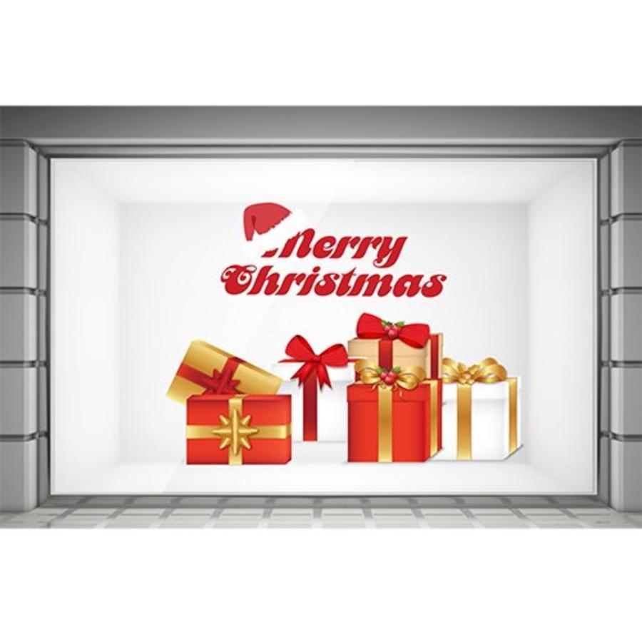 Decal dán tường Merry Christmas và hộp quà đỏ