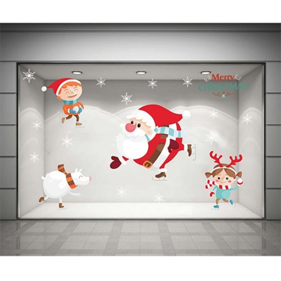 Decal dán tường Ông già Noel trượt tuyết  (nền trắng đục)