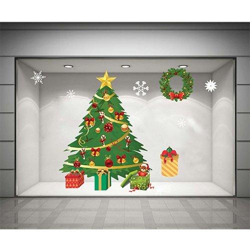 Decal dán tường Cây thông Noel xanh 2 (nền trắng đục)