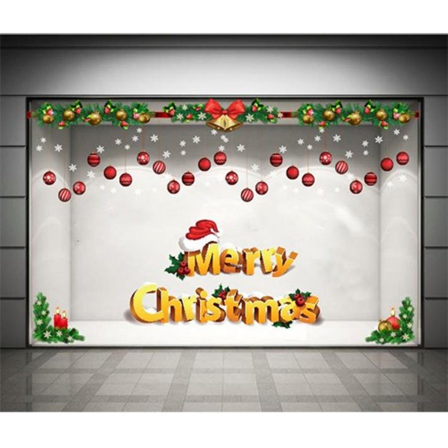 Decal dán tường Combo Merry christmas và dây treo quả cầu Noel