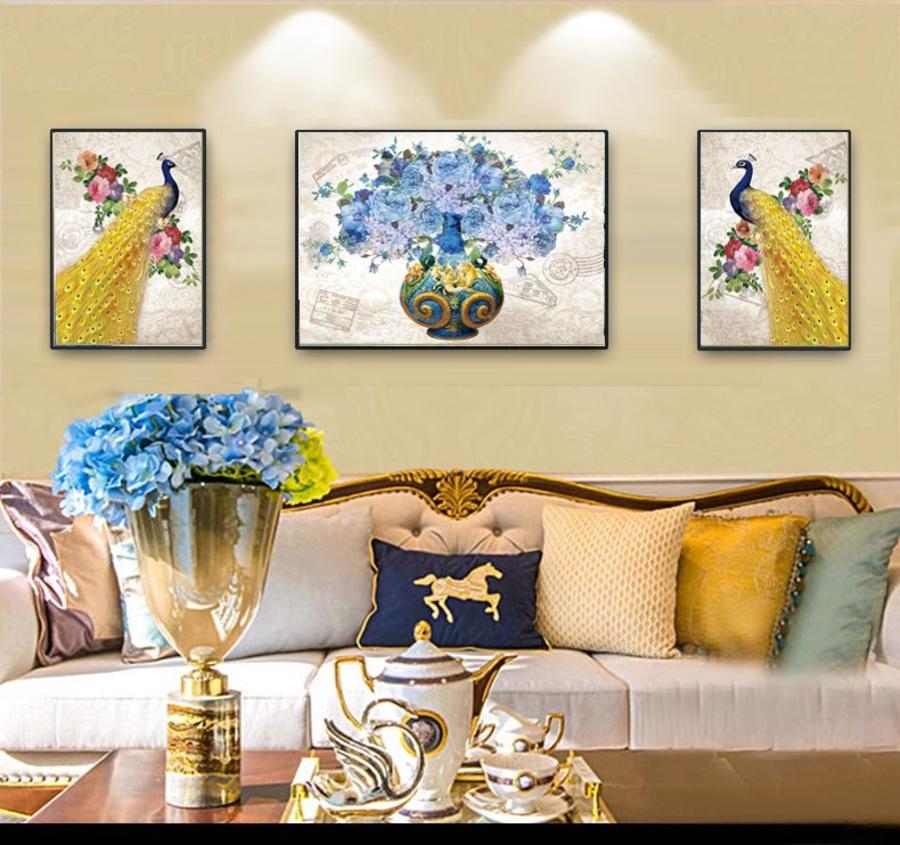 Tranh treo tường đôi chim công vàng và hoa xanh A-007