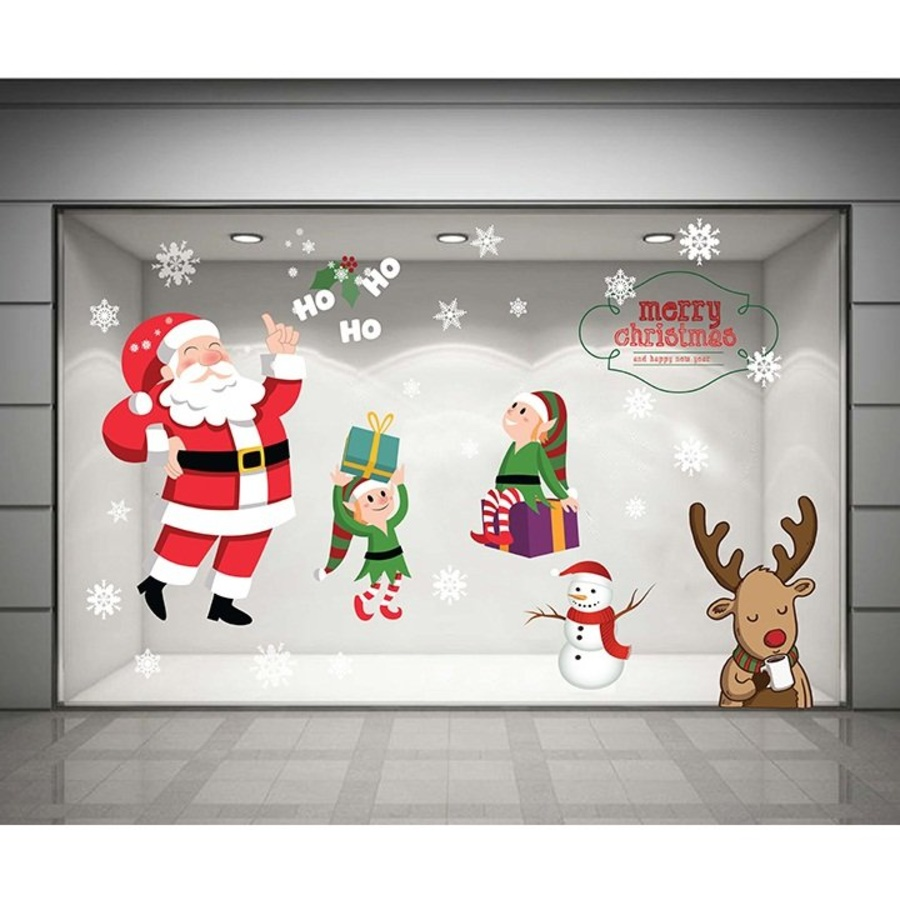 Decal dán tường Ông già Noel và những người bạn (nền trắng đục)