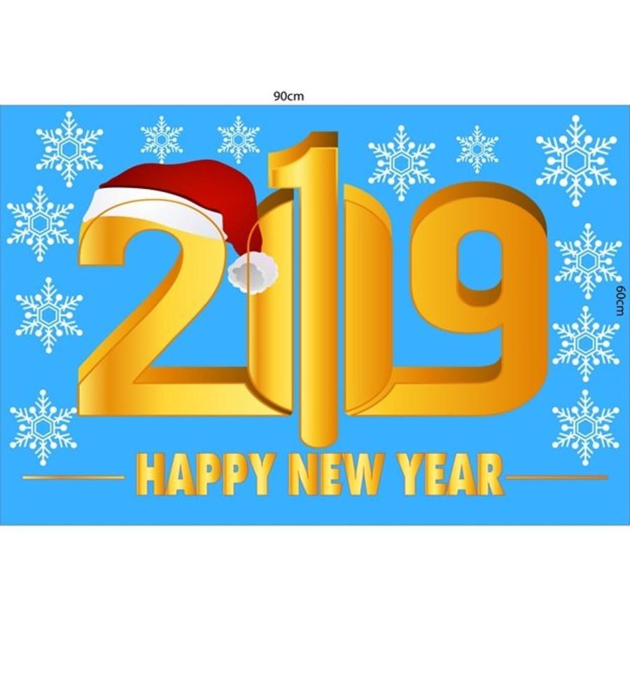 Decal Giáng sinh 2019 chữ vàng