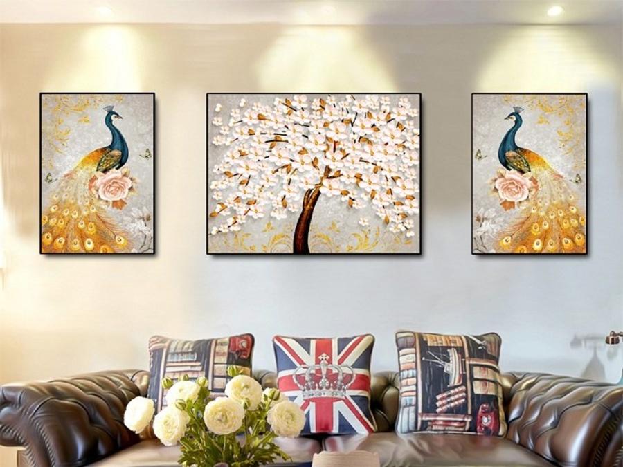Tranh treo tường nghệ thuật chim công và hoa anh đào (A-032)