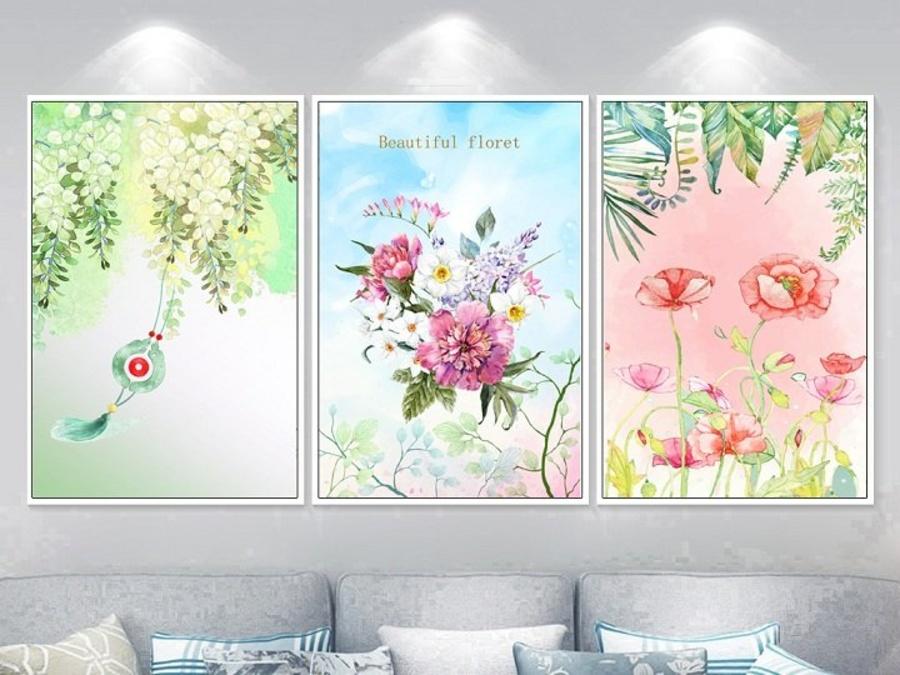 Tranh treo tường bức họa muôn hoa 2 (A-082)