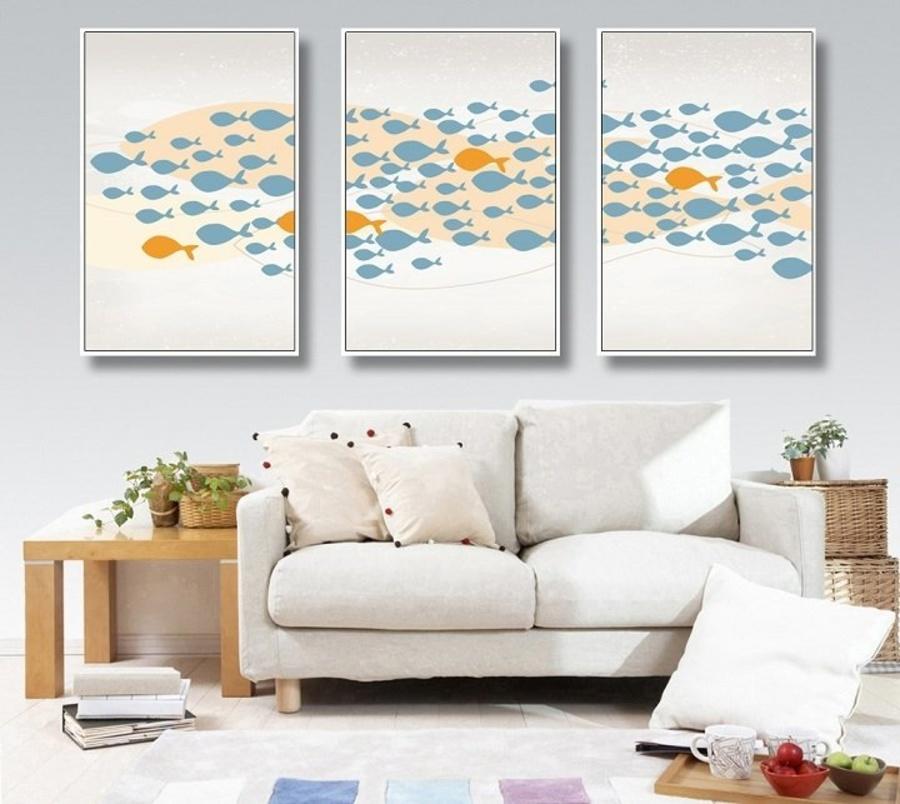 Tranh treo tường đàn cá cam xanh (A-116)